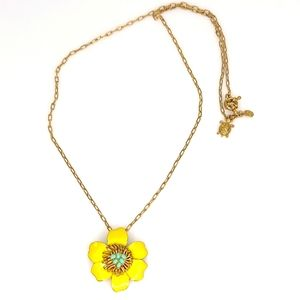 J. Crew Yellow Flower Necklace Gold Chain Turtle